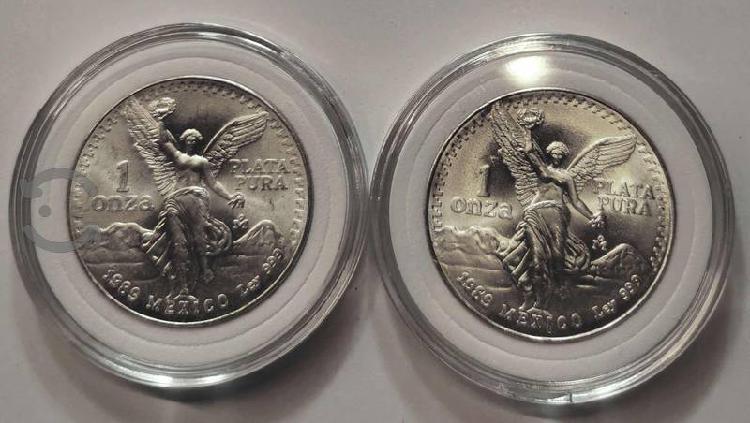 2 onzas de plata pura libertad 2001 en sus capsula