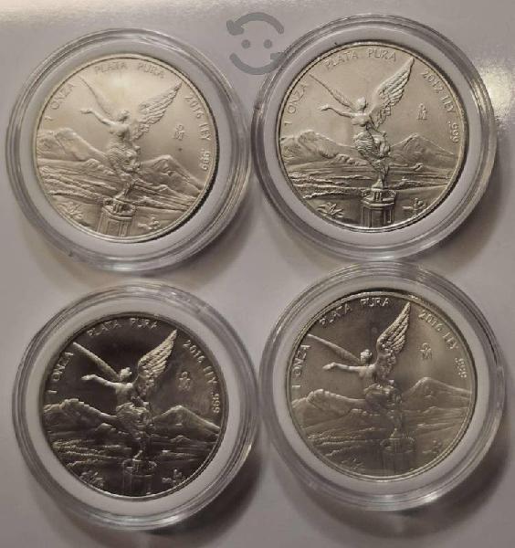 4 onzas de plata libertad 2016 y 2012 en sus capsu