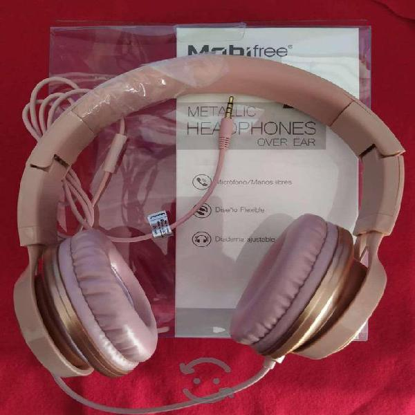 Audífonos diadema rosa 3.5mm c micrófono metálicos