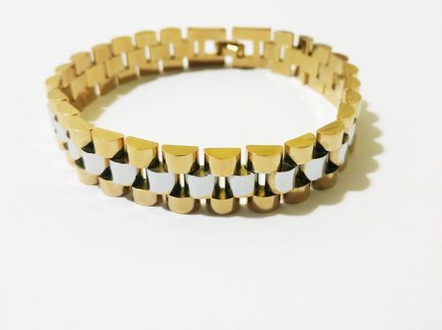 Fina pulsera esclava caballero tejido rolex de oro laminado