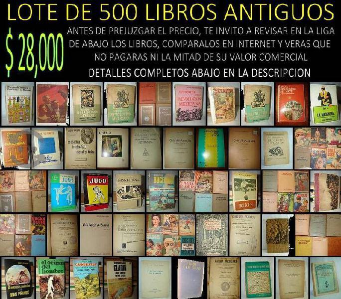 Lote de 500 libros antiguos ,mas detalles abajo