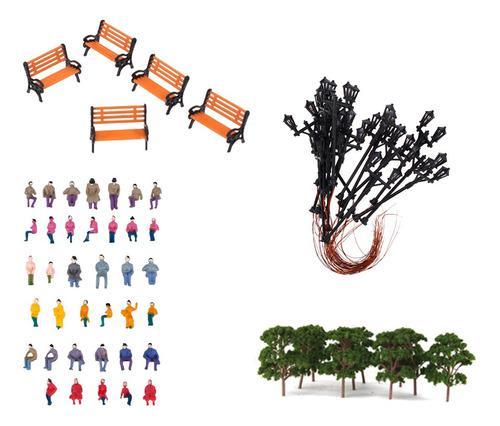 Modelo tren ferrocarril ho diseño pintado árbol banco
