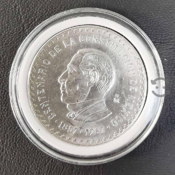 Moneda plata 10 pesos 1957 juárez aniversario de l