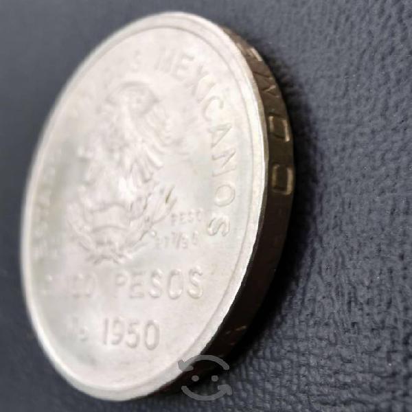 Moneda plata 5 pesos 1950 inauguración del ferroca