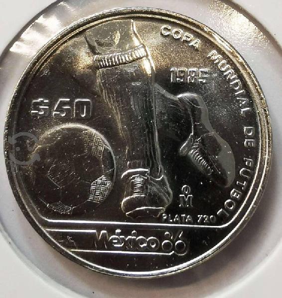 Moneda de plata 1985 50 pesos tesoros del mundial