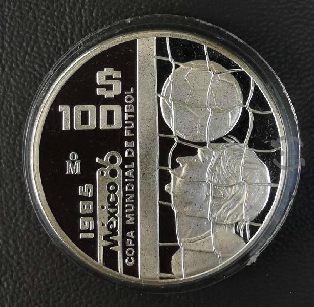 Moneda de plata proof acabado espejo 1985 100 peso