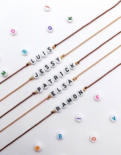 Pulsera personalizada amigos grupo letras nombres ajustable