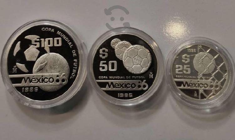 Serie 3 monedas plata proof tesoros del mundial