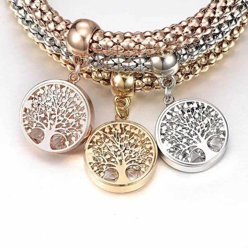 Set de 3 pulseras árbol de la familia mujer moda colores