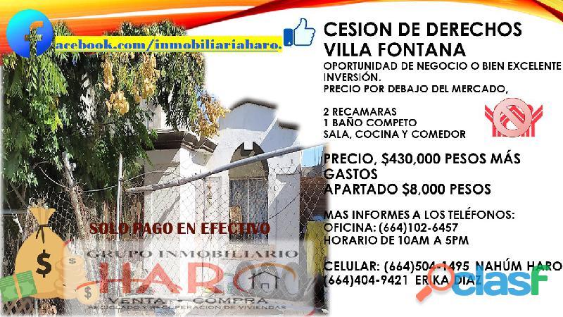 Casa villa fontana por cesión de derechos 2 recamaras