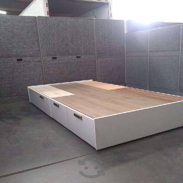 Base para cama individual, con 6 cajones laterales