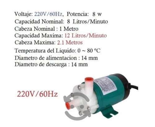 Mini bomba centrífuga p/químicos/agua mar 8 lpm