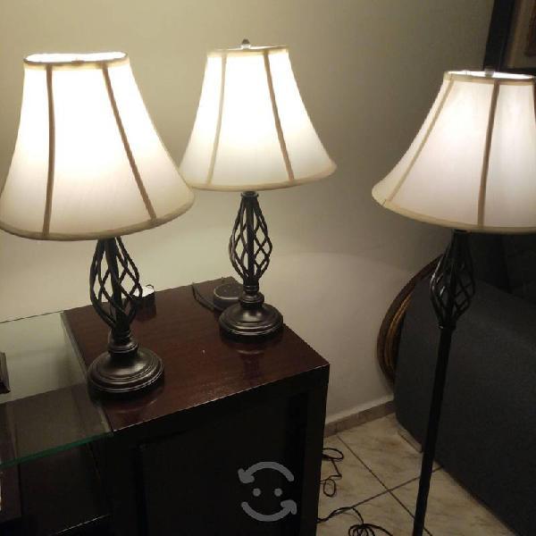 Set de tres lámparas de forja