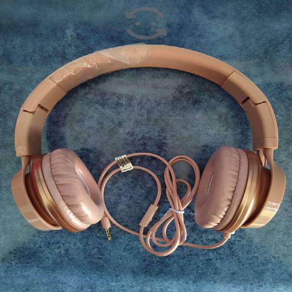 Audífonos diadema c micrófono metálicos rosa pc