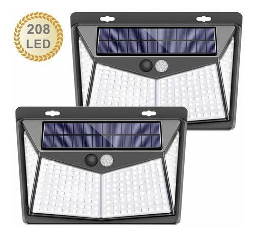 Lámpara solar de 208 luces led de pared para exterior 2