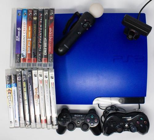 Playstation 3 ee azul (2 ctrles. + kit ps move + 18 juegos)
