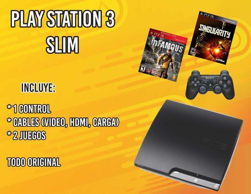 Playstation 3 slim de 120 gb incluye 1 control y 2 juegos