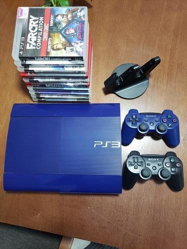 Ps3 slim 250gb azul +10 juegos + 2 controles + base cargador