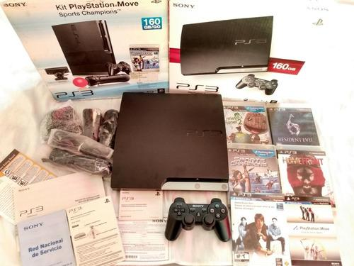 Ps3 slim de 160gb+psmove (seminuevo)