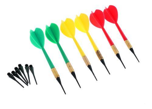 6 piezas/pa color bright safety soft tip dardos plus 6pcs