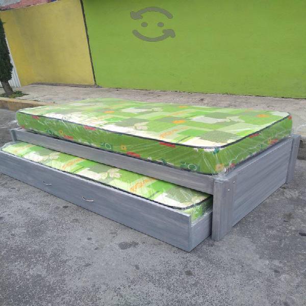 Escencial cama doble deslizante gris vintagee
