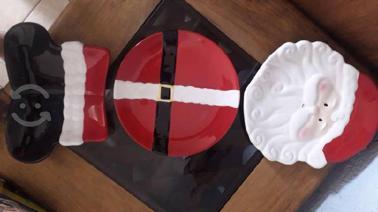 Platos decorativos santa claus, con porta platos
