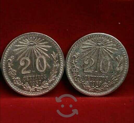Lote 1937 y 1939 20ctvs plata