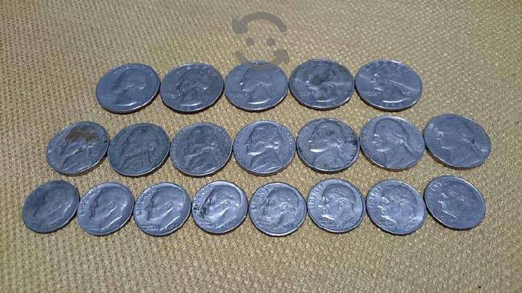 Lote monedas quarter dollar five cents one dime