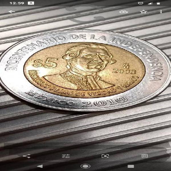 Moneda de 5 pesos sin puntos