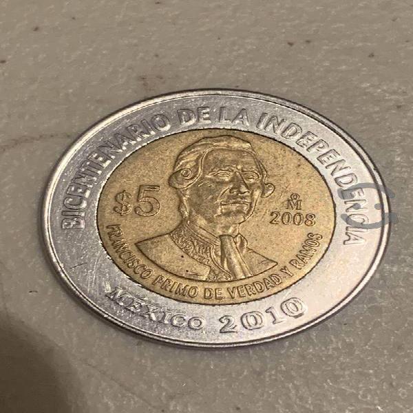 Moneda $5 especial fco primo verdad y ramos ku