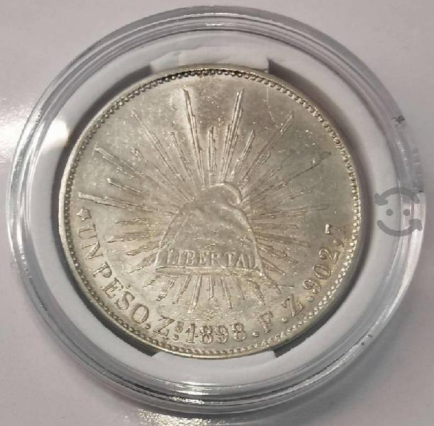 Moneda plata un peso 1898 fuerte porfiriano zs fz