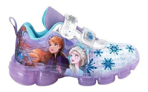 Tenis frozen niña led originales comodos lila copos 4528
