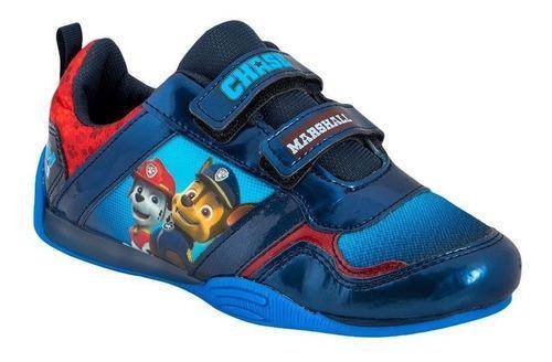 Tenis niño paw patrol con led racing azul sin agujetas 5633