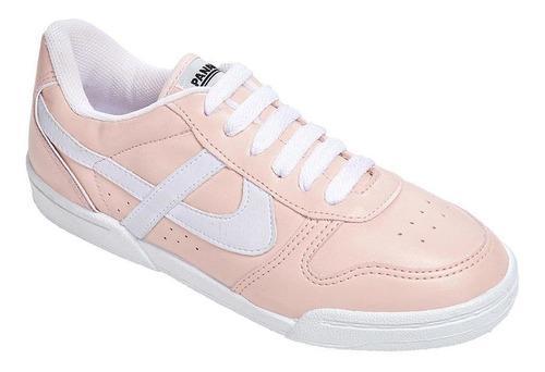 Tenis panam para mujer tecno piel rosa y blanco casual