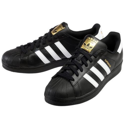 Tenis adidas superstar foundatios negro c/ franjas blancas