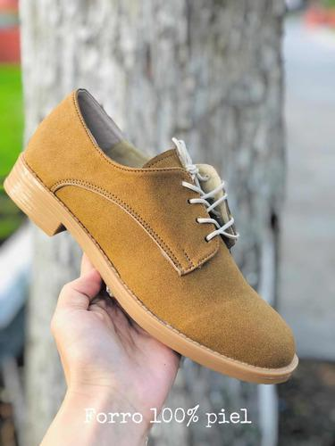 Zapatos mujer agujeta miel