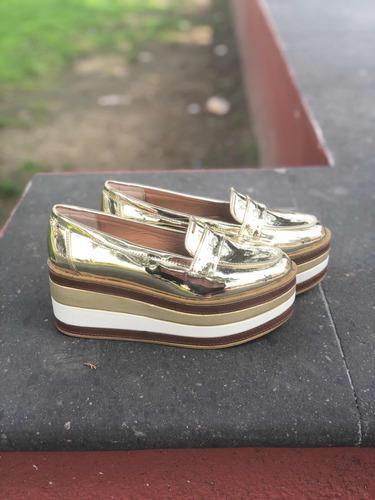 Zapatos mujer plataforma oro espejo