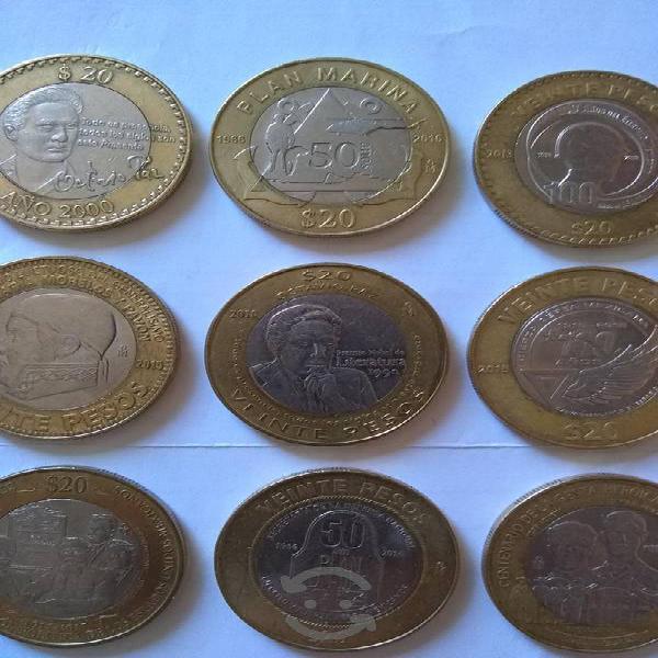 Colección de 9 monedas conmemorativas de $20