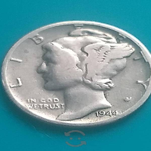 Moneda dime plata pura 1944 seca w muy rara