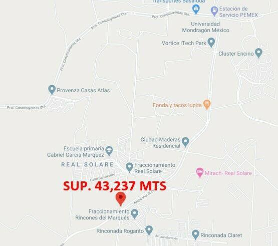 Terreno queretaro epigmenio gonzalez sup. 43,237 mts