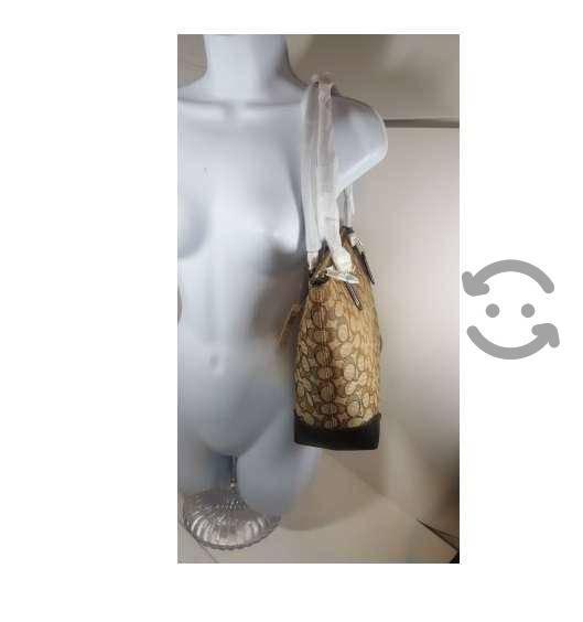 Bolsa coach zip tote en piel y telal para mujer