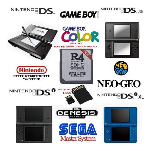 R4 + sd 16gb 2600 juegos ds nes gameboy sega genesis neogeo