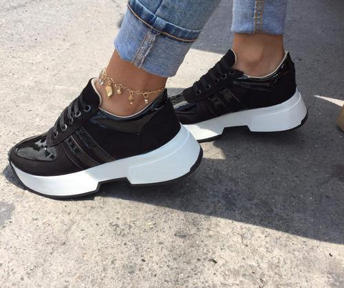 Tenis negro de mujer,de moda casual,neww