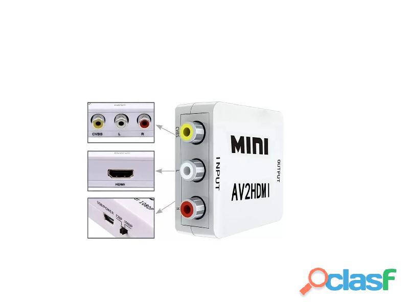 Adaptador Y Convertidor De Rca A Hdmi Audio Video 3