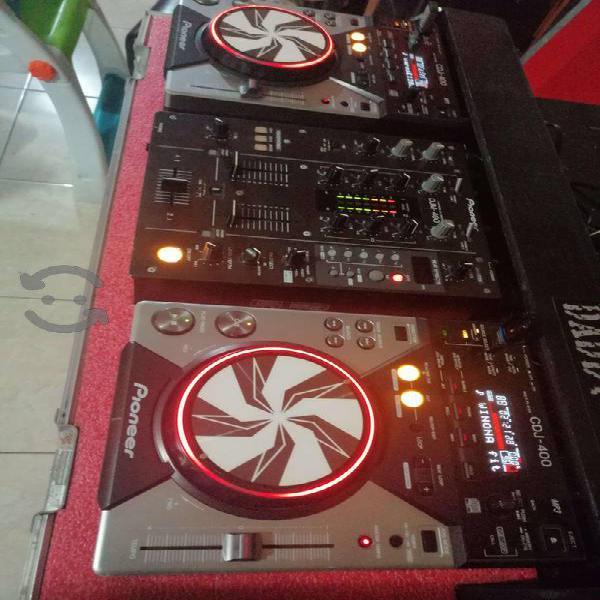 Cabina para dj completa, 2 cdj400 + mixer djm400