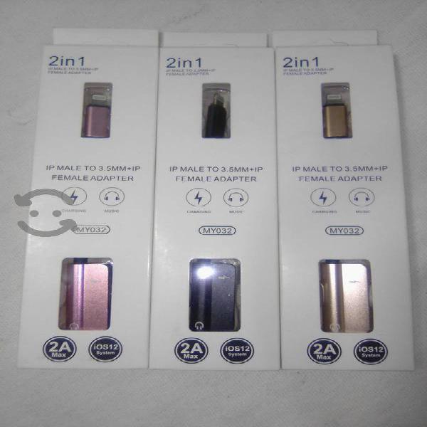 Iphone, adaptador ip macho a 3.5mm+ip hembra