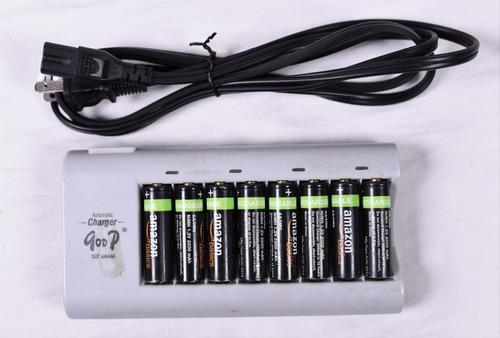 Cargador baterías aa & aaa con 8 baterías (2000 mah)