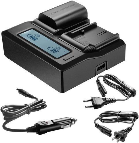 Cargador de baterías doble lcd rápido para lp-e6 full