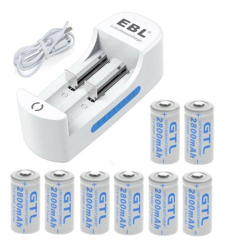 Cargador ebl + 8 baterías pila gtl cr123, 16340 2800 mah