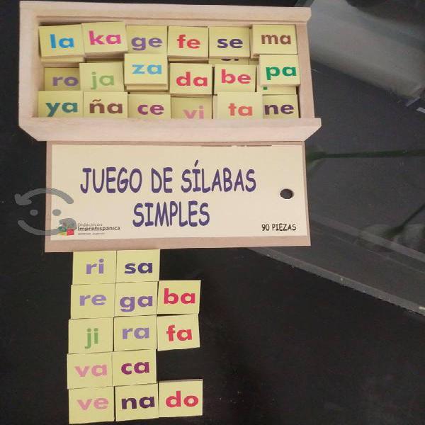 Juego de sílabas simples de madera 90 piezas nuevo